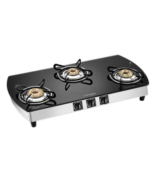 Premier Trendy Black 3GOX Oval 3 Burner Gas Cooktop
