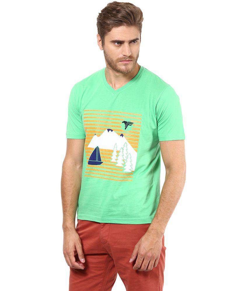 Funk Green Cotton Printed T-Shirt