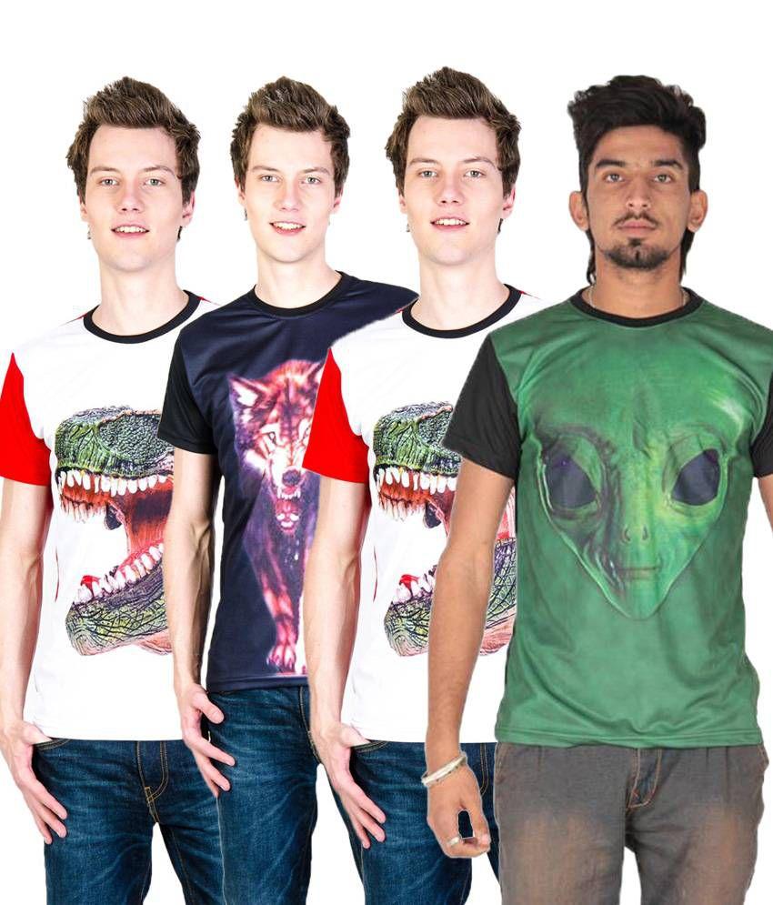 Posh 7 Splendid Multicolour Combo Of 4 3D Printed Half Sleeve T Shirts For Men