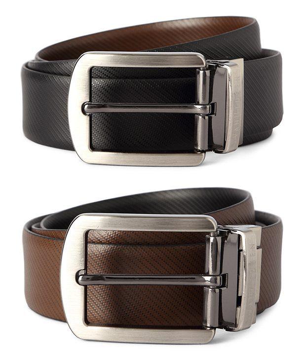 Van Heusen Black Textured Reversible Leather Belt