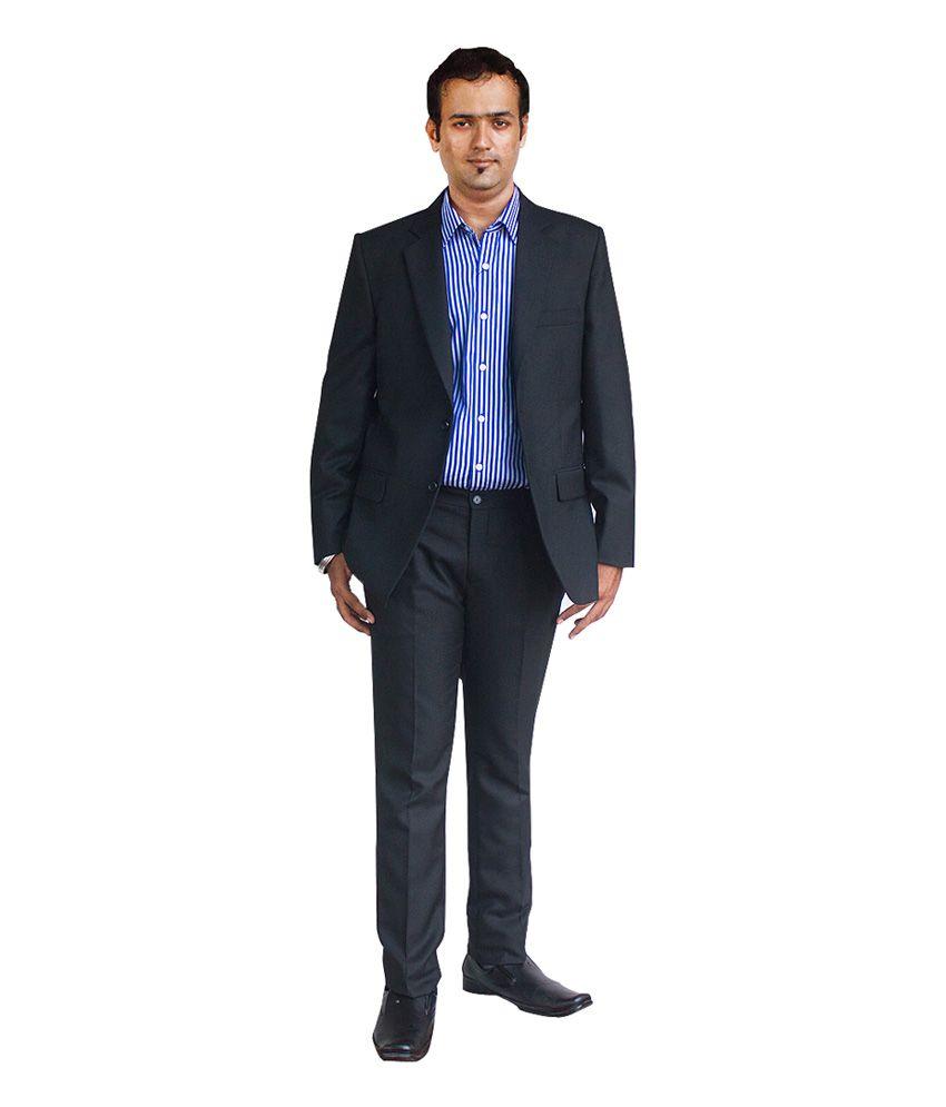 Kinger Black Solid Rayon Formal Suit