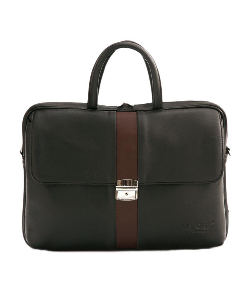 MBOSS Black Leather Look Laptop Messenger Office Bag
