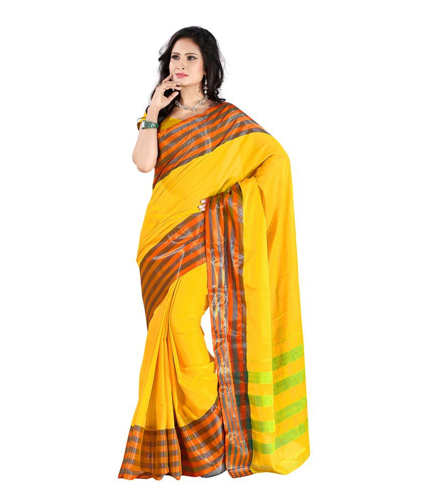 Mehta Sadi Yellow Cotton Silk Saree Buy Mehta Sadi