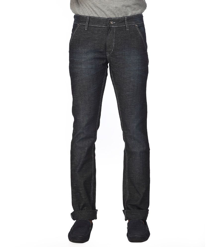 STREETGUYS Gray Cotton Blend Slim Fit Jeans