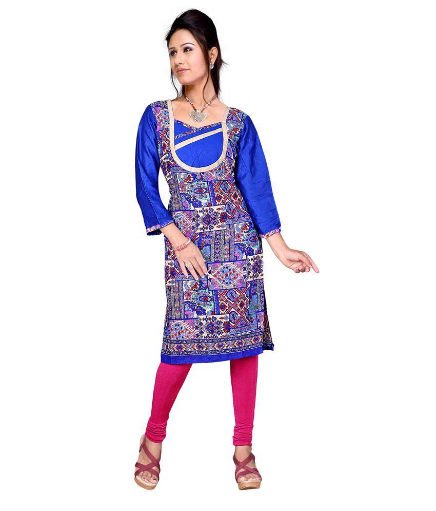 Shree Parmeshwari Blue Cotton Kurti