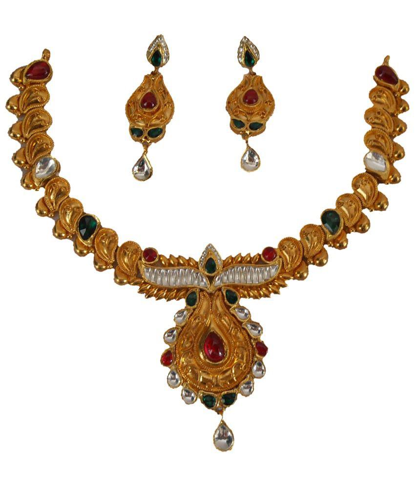 Antique Gold N Jadtar Set: Ykpearls Silver Jadtar Gold Plated Necklace Set: Buy