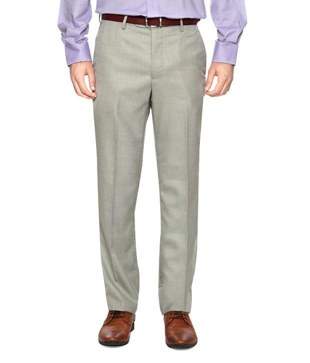 Van Heusen Beige Flat Front Formal Trousers