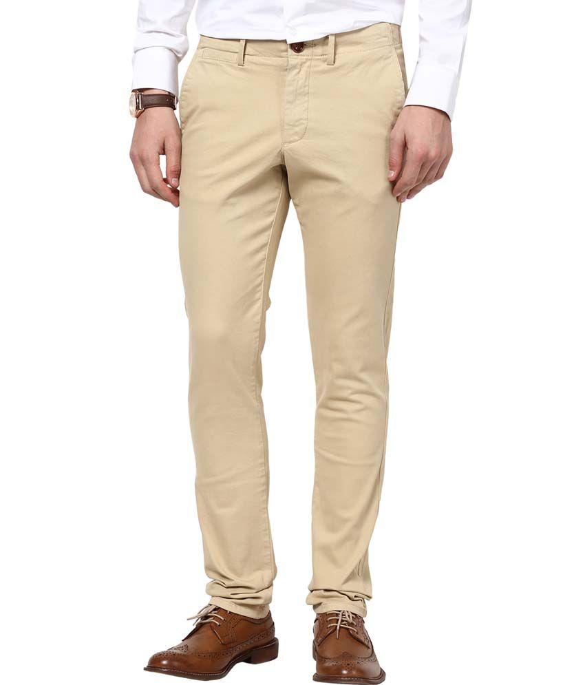 Web Jeans Beige Cotton Lycra Casual Trousers