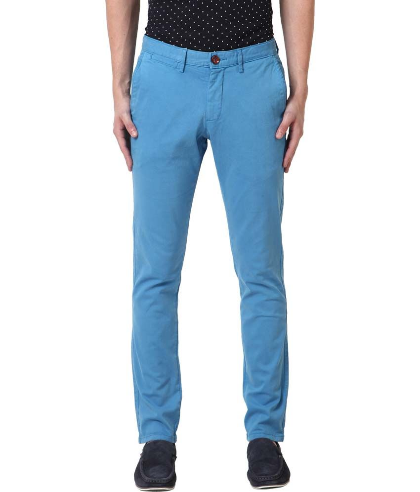 Web Jeans Blue Cotton Lycra Casual Trousers
