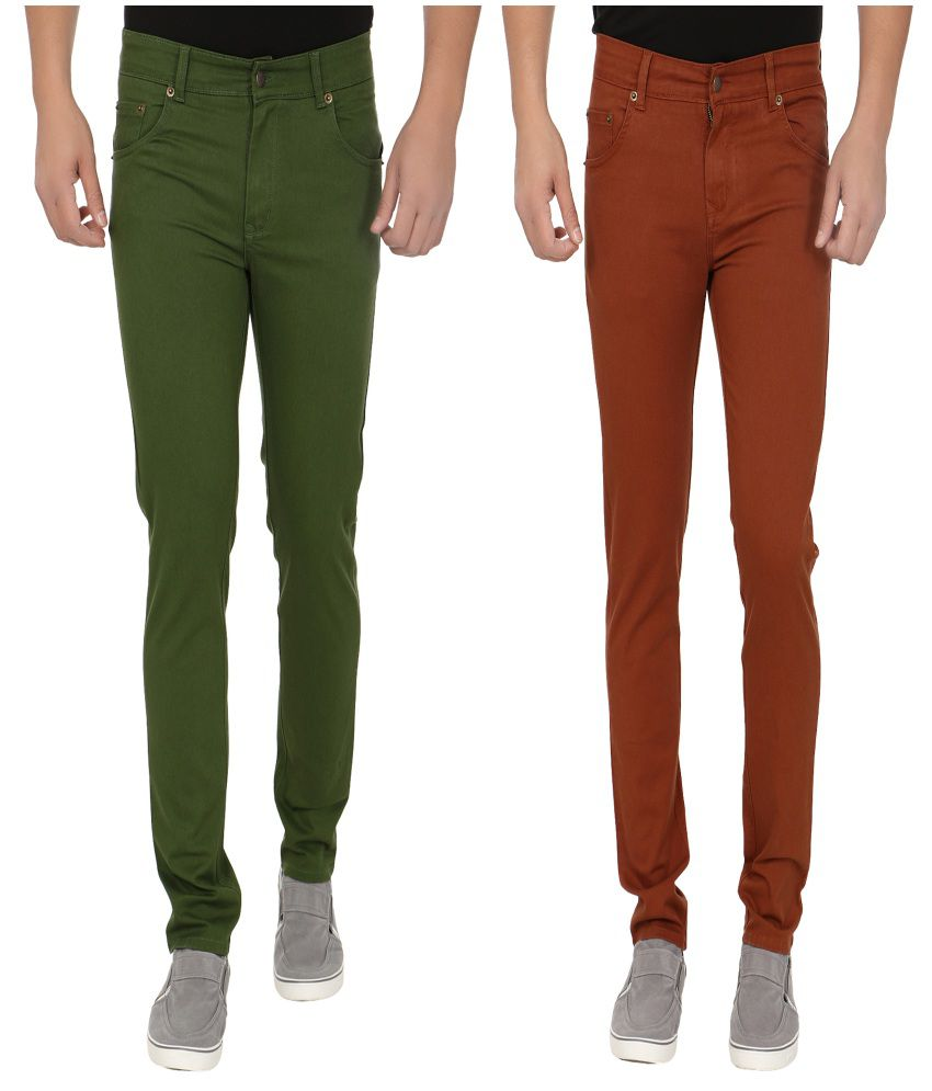 Blimey Brown And Green Stretchable Chinos (Combo Of 2)