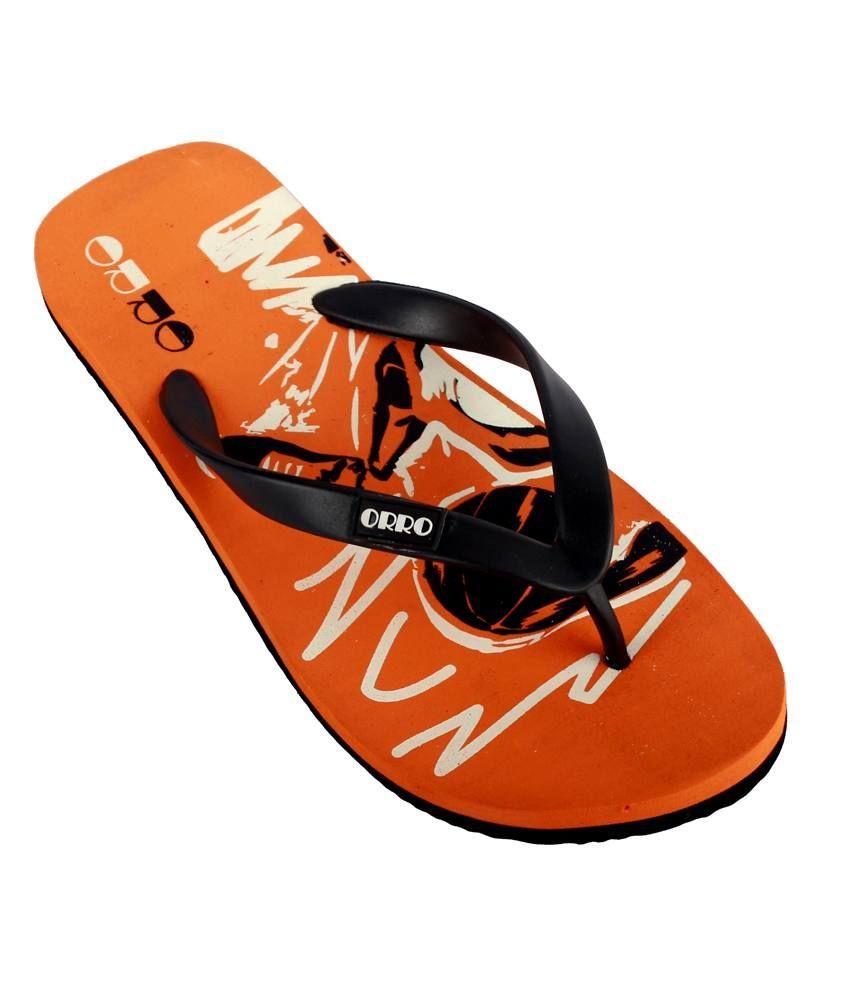 2b72040606dc66 Orro Orange and Black Flip Flops Price in India- Buy Orro Orange and ...