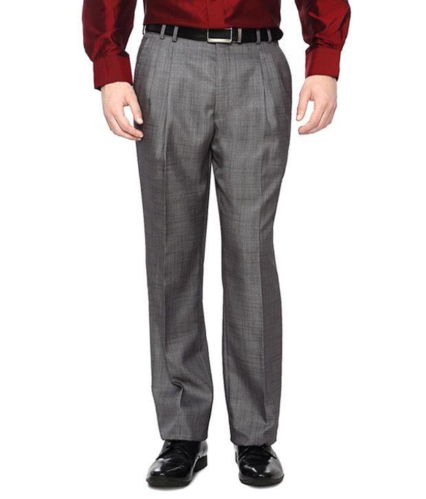 Van Heusen Grey Regular Fit Textured Trousers