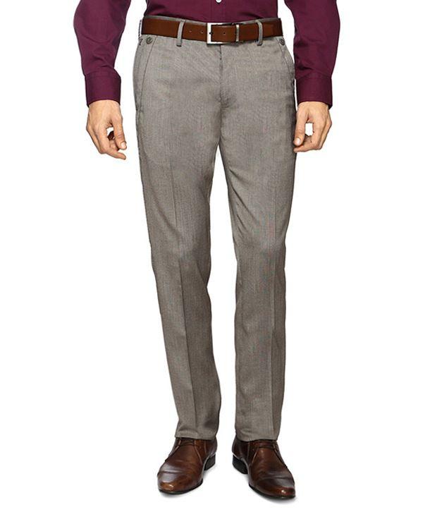Van Heusen Khaki Formal Skinny Fit Trousers