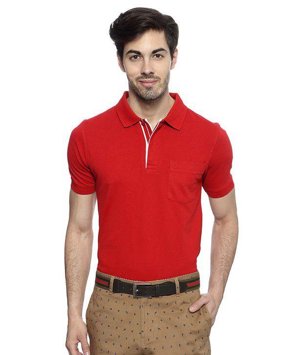 Van heusen red regular fit solid t shirt buy van heusen for Van heusen men s regular fit pincord dress shirt