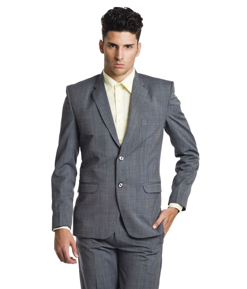 Wintage Gray Woollen Formal Single Breasted Blazer