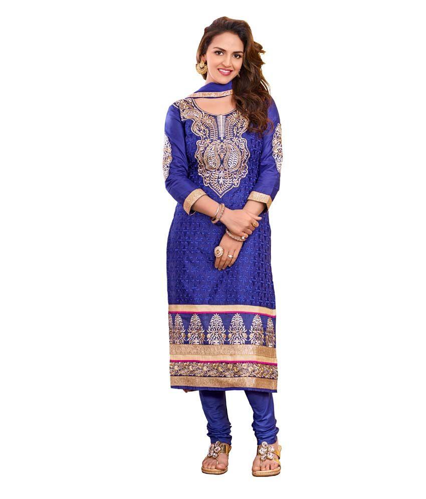 Dks Designer Brown Cotton Dress Material