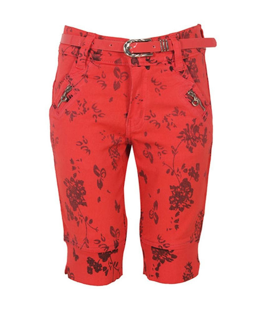 Eight 26 Red Cotton Capri for Kids