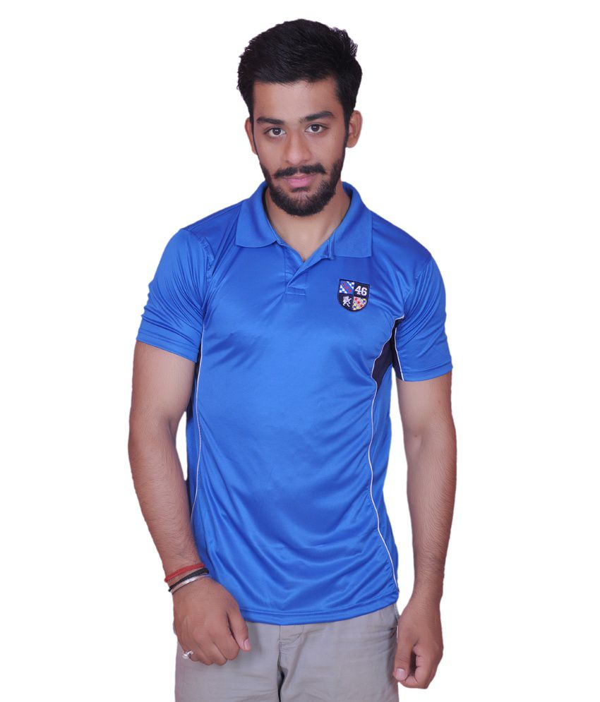 Blue Polyester Sports T Shirt