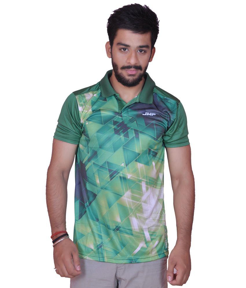 Light Green Polyester Sports T Shirt