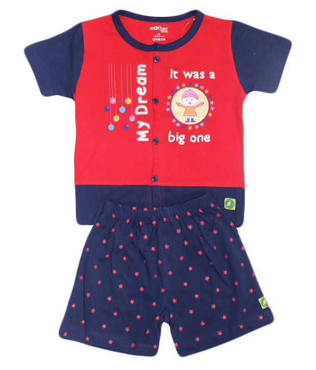 Motherson Red Cotton Top & Bottom