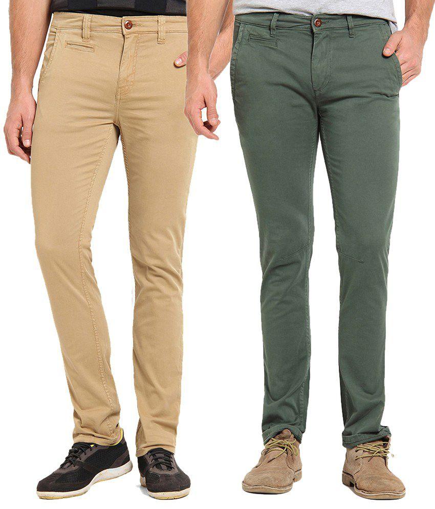 Offline Beige & Green Cotton Lycra Slim Fit Chinos Pack of 2