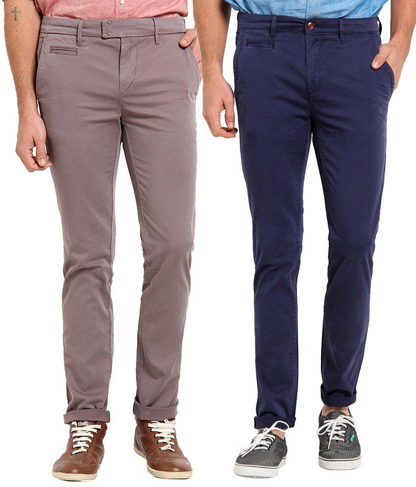 Offline Dark Blue & Gray Cotton Lycra Slim Fit Chinos Pack of 2