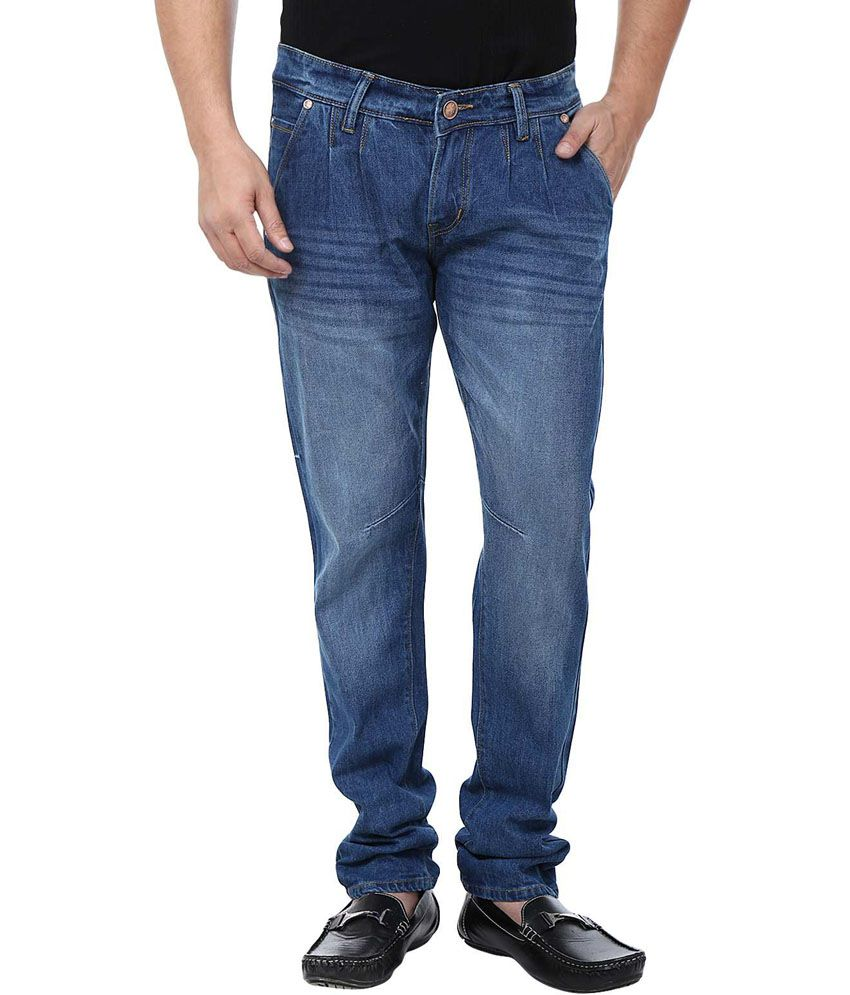 Adhaans Classy Blue Regular Fit Jeans