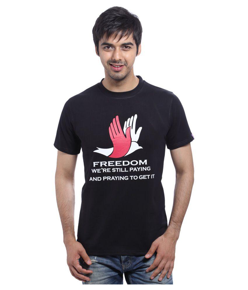 Bhashan Black Cotton Round Neck Printed T Shirt