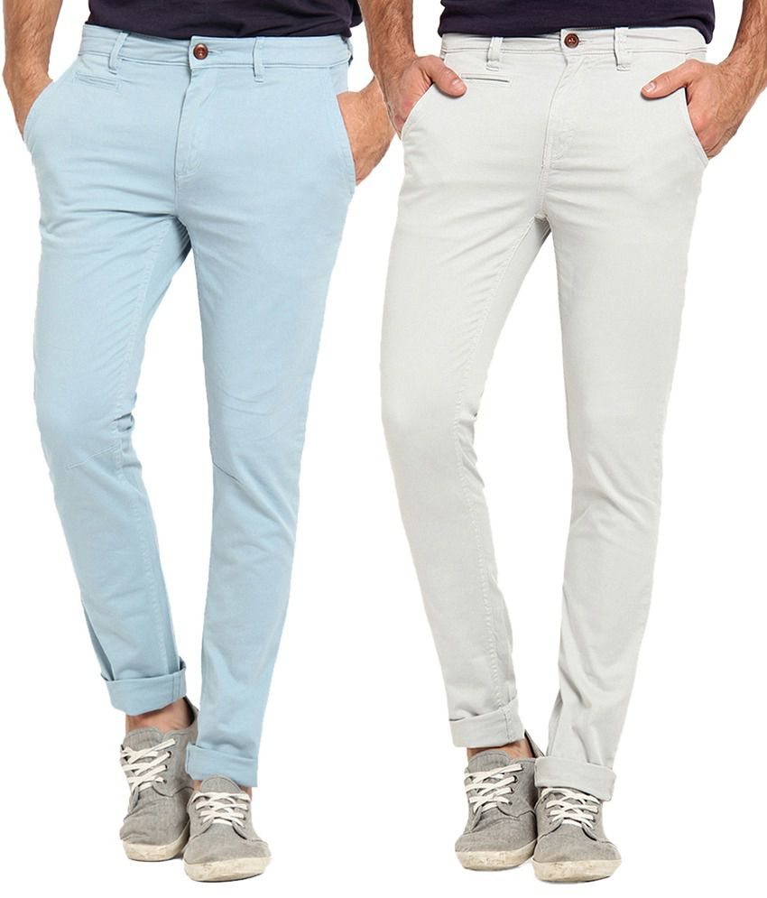Offline Gray & Light Blue Cotton Lycra Slim Fit Chinos Pack of 2