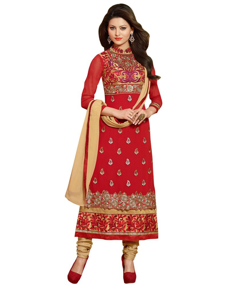 Shelina Maroon Faux Georgette Stitched Suit