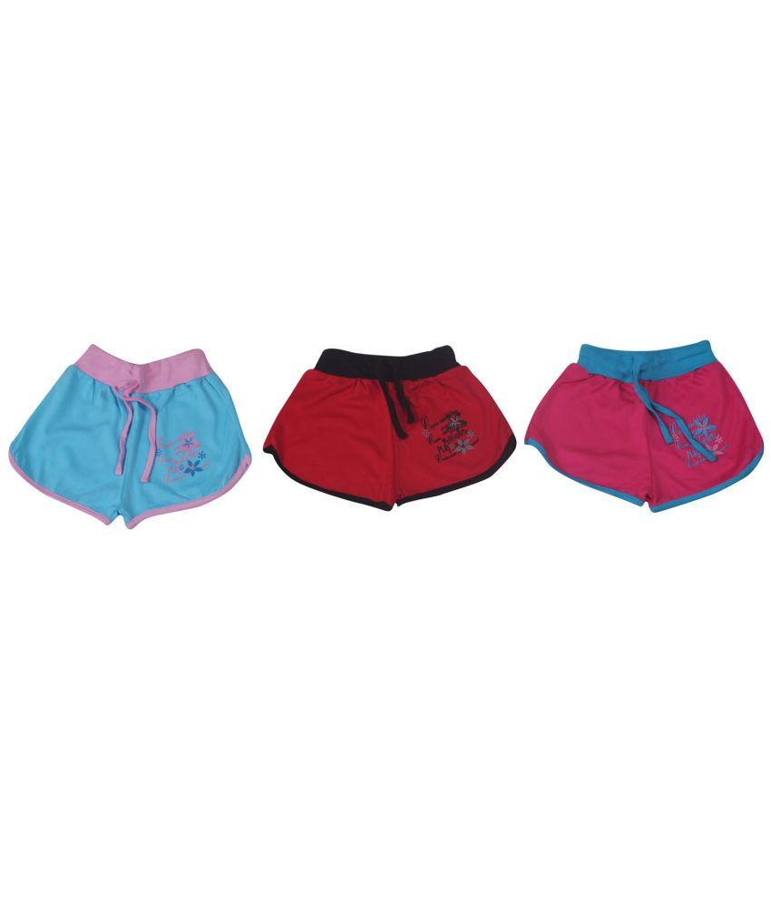 Weecare Cotton Hot Pant For Girls Set Of 3