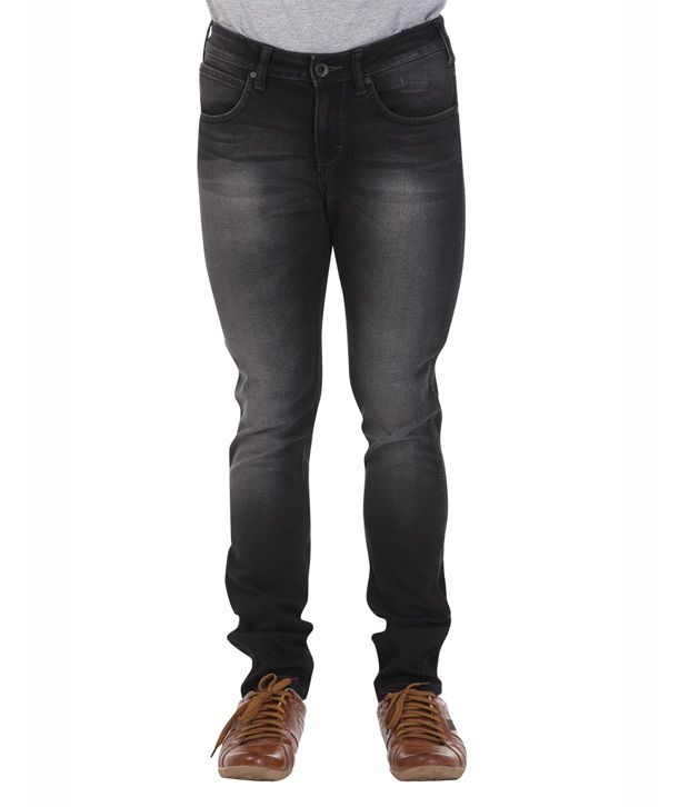 Wrangler Dark Edge Black Cotton Light Wash Jeans