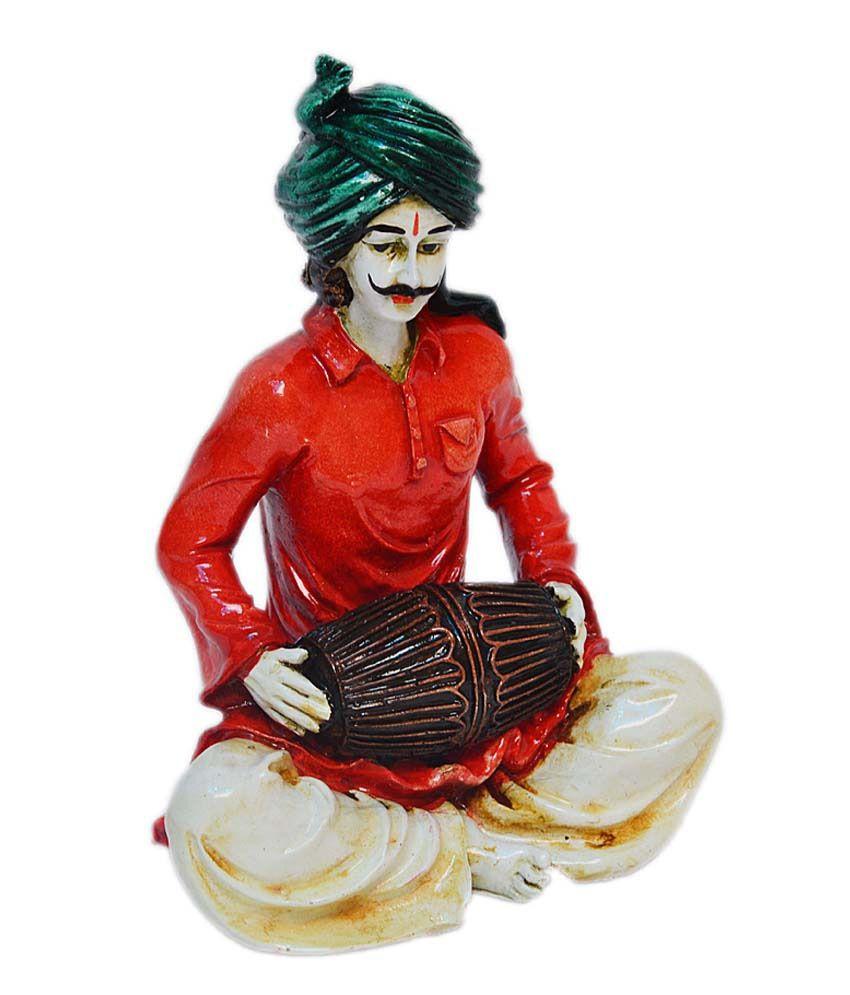 eCraftIndia Polyresin Rajasthani Lady Playing Dholak Showpiece