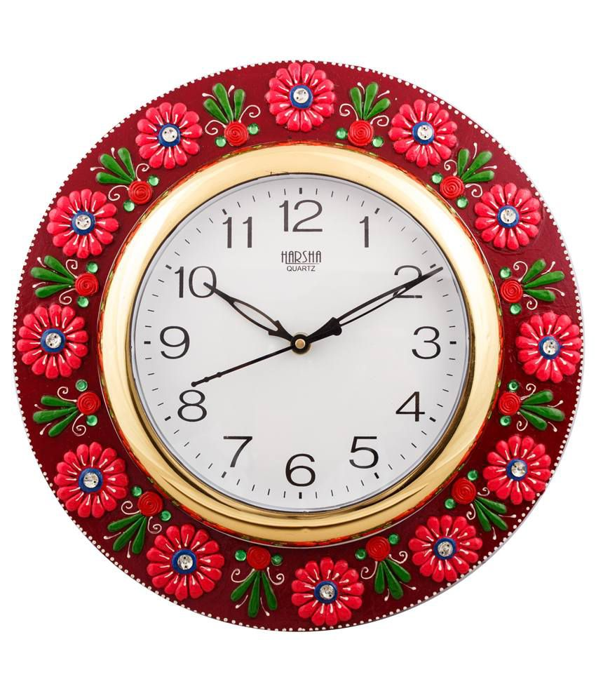 eCraftIndia Vibrant Red Floral Crafted Papier-Mache Wooden Wall Clock
