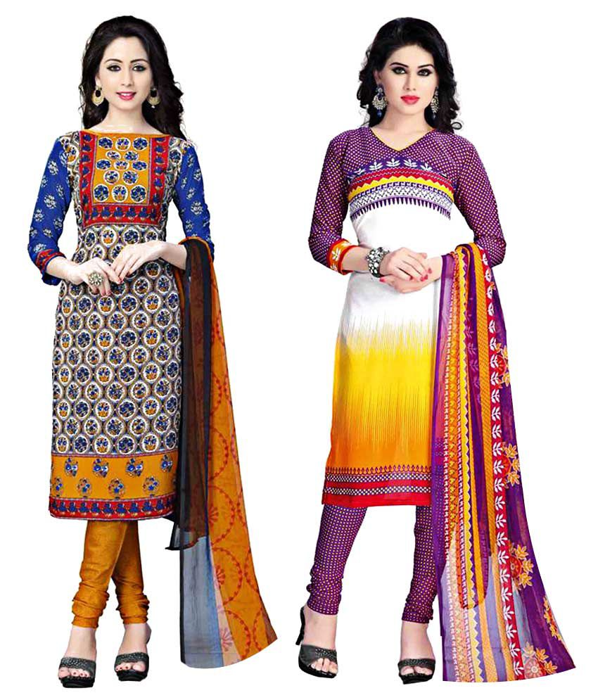 SDM Multicoloured Crepe Straight Unstitched Dress Material
