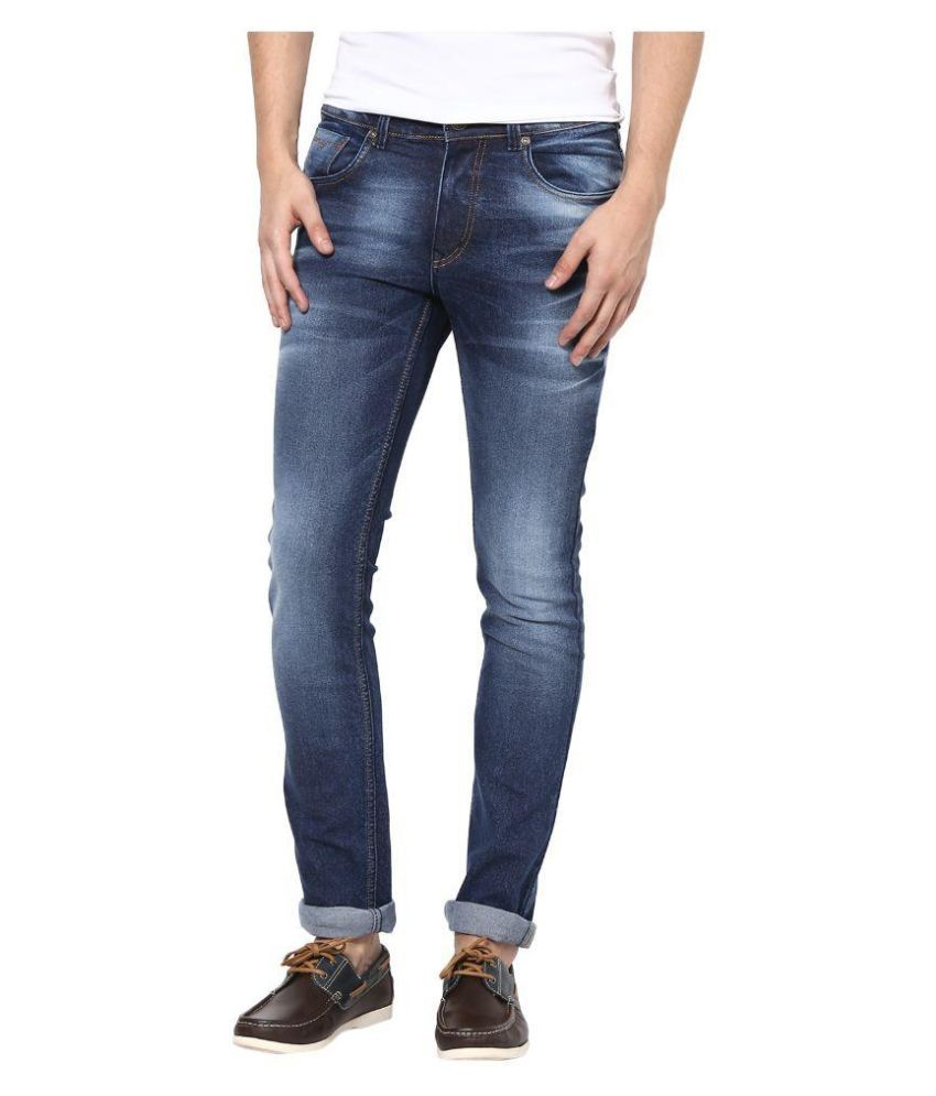 SuperX Blue Skinny Fit Faded Jeans