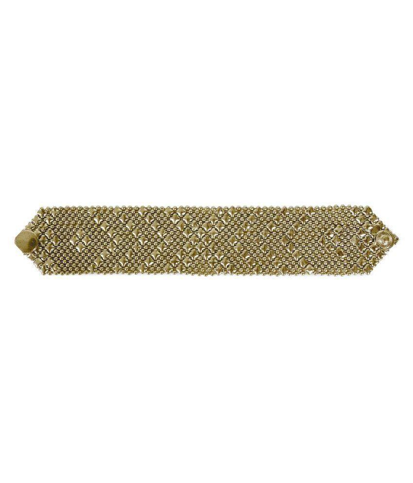 Ayesha Alloy Studded Gold Coloured Bracelet