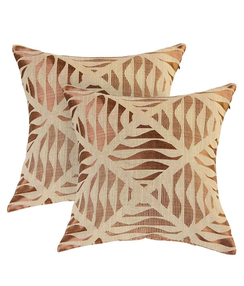 Zaffre's Beige Polyester Cushion Covers - Set of 2