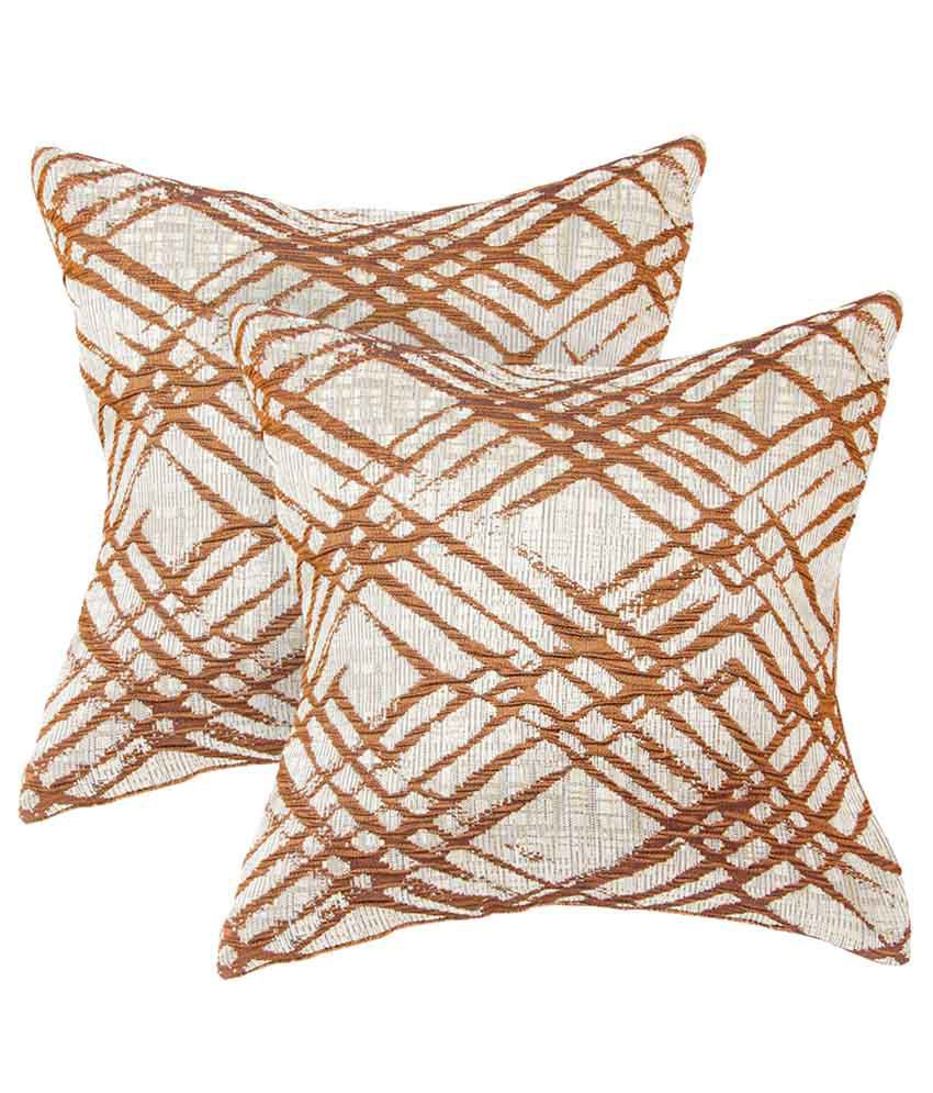 Zaffre's Brown Check Polyester Cushion Covers - Set of 2