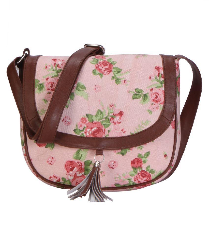Ayeshu Pink Canvas Sling Bag
