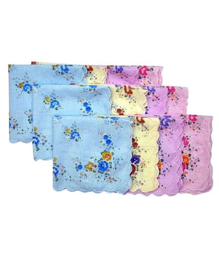 BelleGirl Multi color Cotton Women Handkerchief i- Pack Of 12