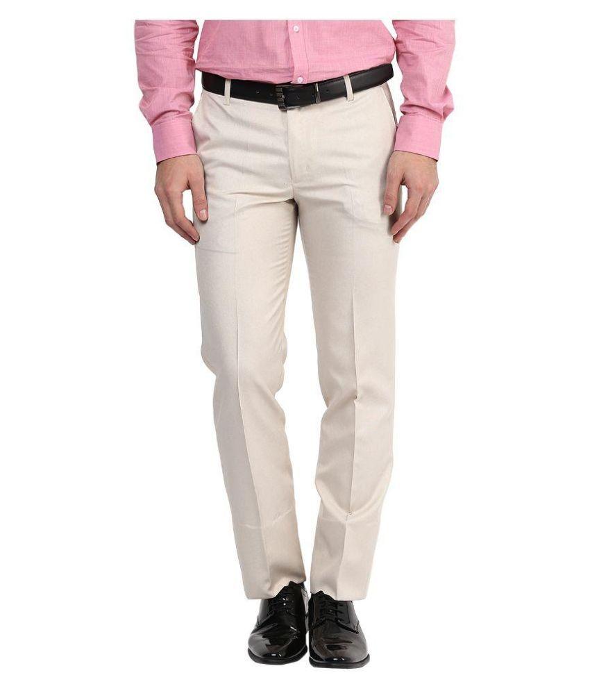 BUKKL Beige Slim Flat Trouser