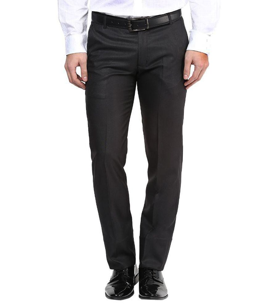 Bukkl Black Slim Fit Flat Trousers
