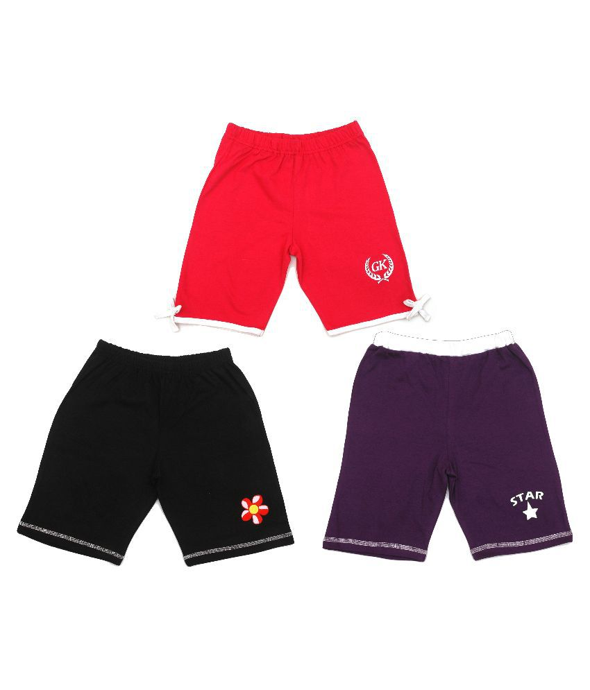 Gkidz Multicolour Cotton Shorts - Pack of 3
