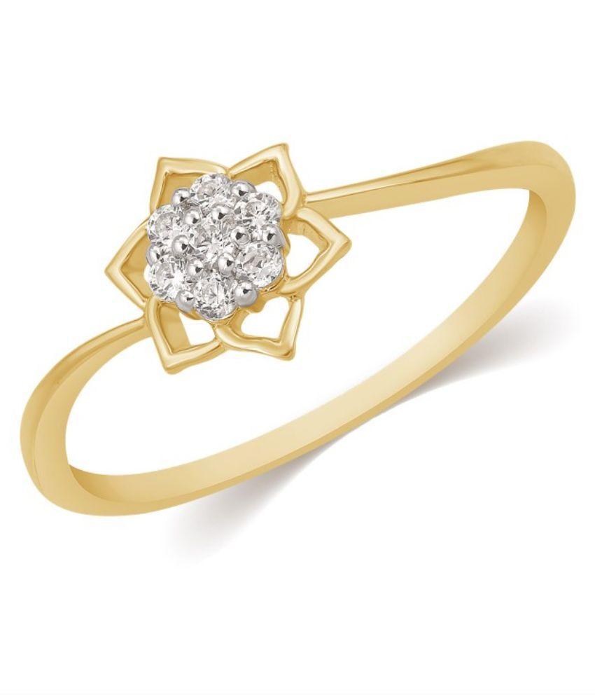 Kama Jewellery 18Kt Yellow Gold and Diamond BIS Hallmarked Ring