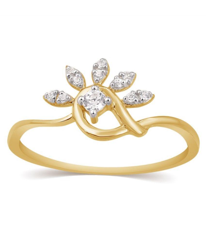 Kama Jewellery 18Kt Yellow Gold BIS Hallmark Diamond Ring