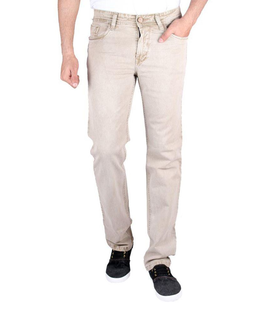 Meghz Beige Regular Fit Faded Jeans