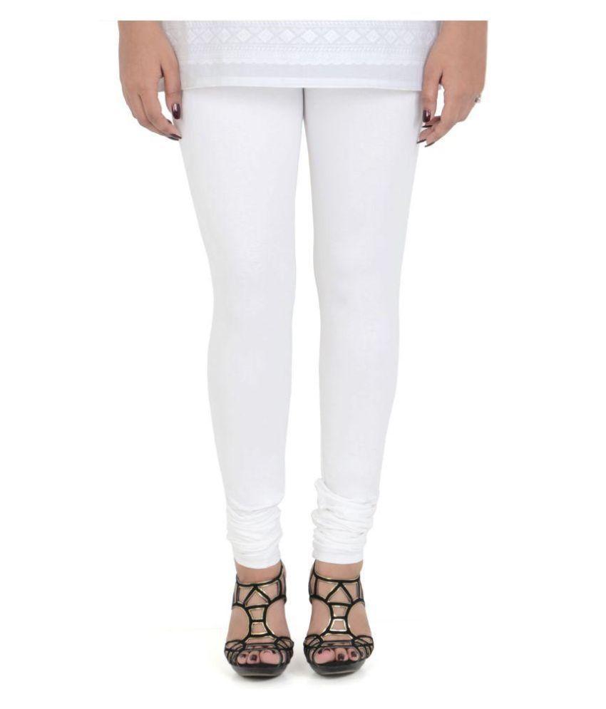 Vami White Cotton Lycra Leggings