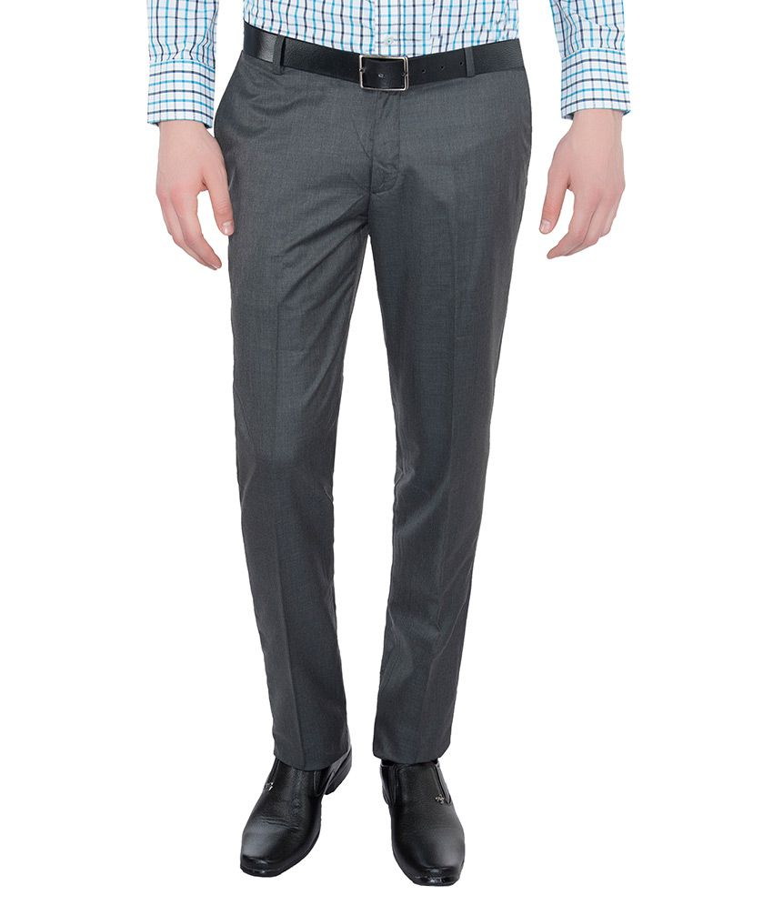 Vimal Grey Slim Fit Flat Trousers