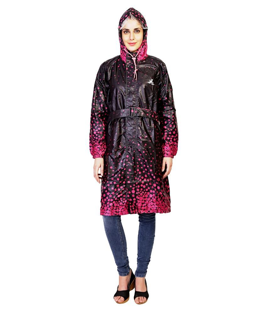 Zeel Black And Pink Printed Raincoat For Women